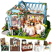 CUTEBEE Dollhouse Miniature with Furniture, DIY Dollhouse Kit Plus Dust Proof and Music Movement, 1:24 Scale C
