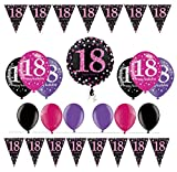 Feste Feiern Geburtstagsdeko Zum 18. Geburtstag I 14 Teile All-In-One Set Folienballon Luftballon Wimpelkette Pink Schwarz Violett Party Deko Happy Birthday