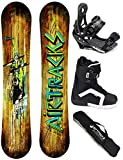 AIRTRACKS SNOWBOARD KOMPLETT SET / WILD SNOWBOARD WIDE FLAT ROCKER + BINDUNG SAVAGE + BOOTS + SB BAG / 156 163 165 / cm