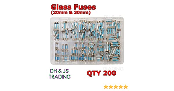 30mm Fuse Quick Blow Fast Acting x200 Assorted Box of Glass Fuses 20mm