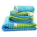 Fourscom® Frottier-Set 6-teilig Handtuchset: 4x Handtücher 34x76 cm und 2 Duschtücher/ Badetücher 78x150 cm, 100 % Baumwolle, Grün-Blau
