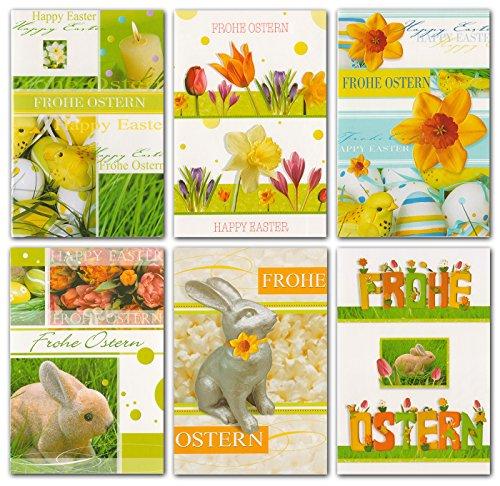50 Glückwunschkarten zu Ostern Blume Hase Eier Grußkarten Klappkarten mit Umschlägen 13-1500 - Grußkarten Ostern