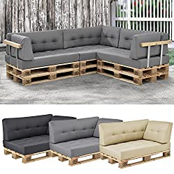 [en.casa]® euro-pallet sofa/ 1 x back rest cushion / pad / outdoor indoor / garden furniture / water-resistant / light grey