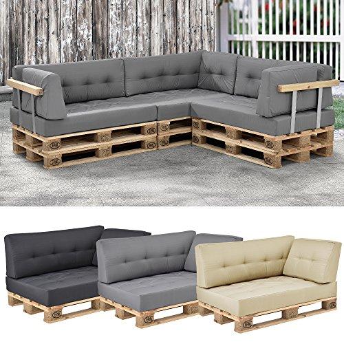 [en.casa]® 1x cuscino angolare per divano palette euro [grigio chiaro] cuscino per palette per fuori e dentro