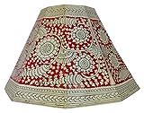 #5: YARRAGUNTA LEATHER WORK Painting Art Leather Lamp Shade (Red & Black, KA09)