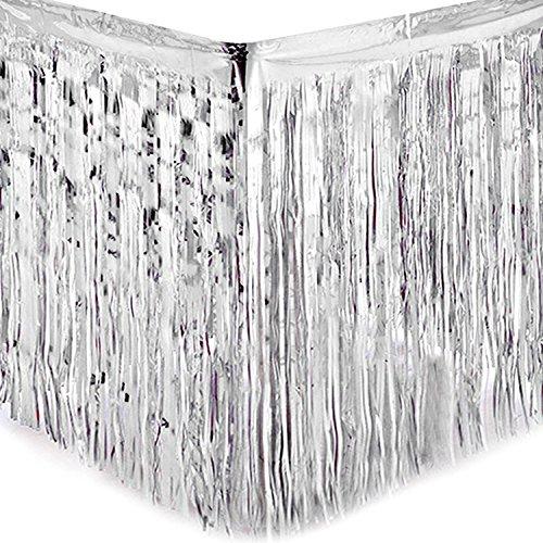 Yalulu 2 Stück Dressing Tischrock Tisch Gold Silber Lametta Vorhänge Tisch Roecke Fadenvorhang Glittervorhang Party Hochzeit Dekoration Deko (Silber) (Silber-metallic Tisch Rock)