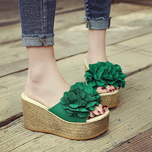 LvYuan Pantofole estive delle donne / Comfort Casual Fashion / tacco tallone / fondo spessa / piattaforma impermeabile / tacco alto / fiore sexy / sandali / beach shoes Green