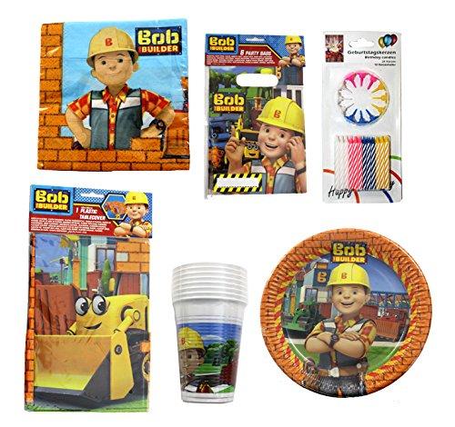 Bob der Baumeister 67 teiliges Party Geschirr und Deko Set Bob the (Kitty High Monster Noir)