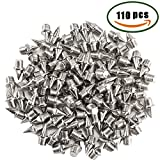 pointes athlétisme MIHOUNION 110pcs 7mm 1/4 Pouces Acier spikes athlétisme chaussure athletisme pointes dathlétisme cross country pointes pour dames Nike Sports Running Track Chaussures de sport Spikes Silver