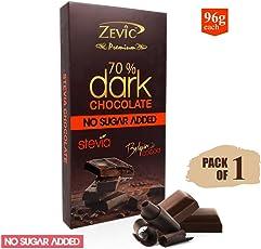 Zevic 70% Belgian Dark Chocolate with Stevia, 96g