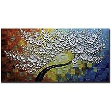 Asdam Art-Flor blanca pared arte abstracto, pinturas al óleo sobre lienzo Arte moderno hogar decoraciones para salon dormitorio decoracion de paredes(20X40 inch)