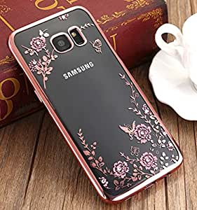 Little Flower Bling Thin Silicone Back Case Cover for Samsung Galaxy S6 Edge (Rose Pink)