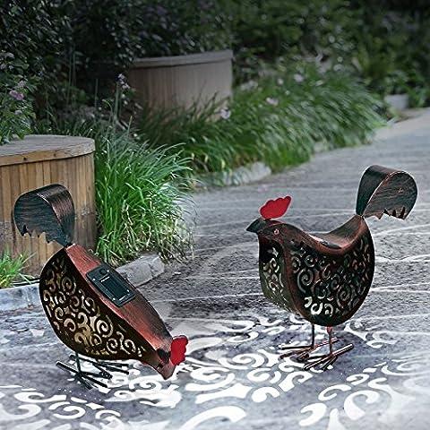 IDMarket - Lot de 2 poules métal éclairage extérieur à