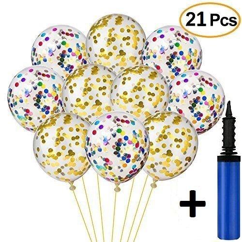 DHECOMYR Kit decoración fiesta, boda, comunión, cumpleaños, bautizo. Set globos confeti dorado / mixto + inflador.