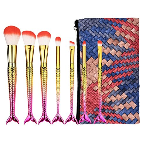 URSING 7PCS Set/Kit Pinceaux Maquillage Cosmétique Professionnel Cosmétique Brush Beauté Maquillage Brosse Makeup Brushes Cosmétique Fondation avec Sac Make Up Fondation Sourcils Eyeliner Blush Cosmétique Concealer Brosses Kit de Pinceau maquillage Professionnel à Paupière Blush Fondation Pinceau Poudre Fond de teint Anti-cerne Kit Pinceaux avec sac Mermaid queue maquillage pinceau définit brosse (4*4*21 cm, Multicolore)