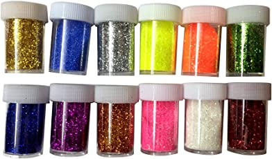 Shoppertize Glitter Powder in 12 Tubes-Craft DIY Fine Glitter Powder
