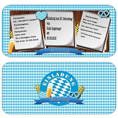 Einladungskarten zur Feier, Party, Fest Oktoberfest bayrisch Geburtstag Einladung Eintrittskarte mit Text & inkl Druck Mottoparty Bayern rustikal