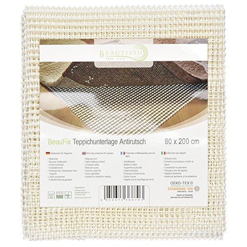 Beautissu BeauFix - Base alfombrilla antideslizante multifuncional para alfombras - 80x200cm - recortable a medida e insonorizante