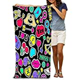 chillChur-DD Bath Towel Serviettes de Plage de qualité supérieure-Serviettes de Piscine Love Stickers S S Pop Comic Style Coloré Funny Face Pins Patchs Cartoon Happy Valentine Day