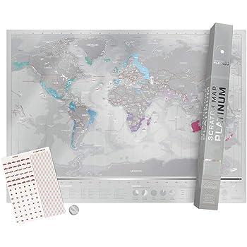 Carte Du Monde A Gratter Platinum Revelez Les Pays Visites De Voyage Avec Fuseaux Horaires