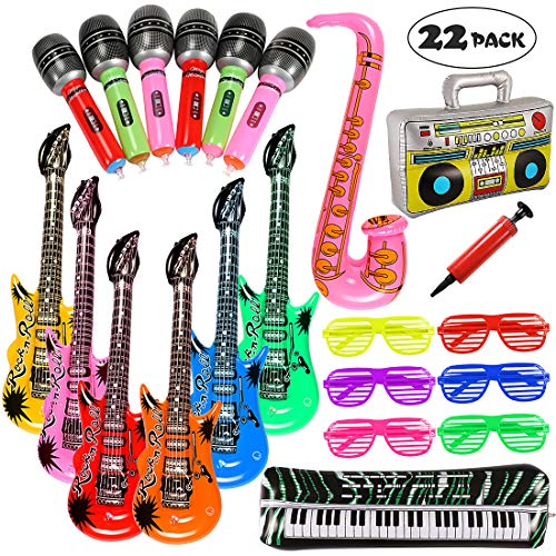 Lewo 22 STÜCKE Aufblasbare Gitarre Radio Klavier Saxophon Mikrofone Shutter Brille Party Requisiten Aufblasbare Instrumente mit (80er Jahre Rock N Roll Kostüm)
