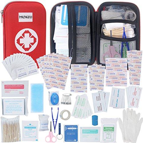 MOKIU 180 artículos Botiquín de Primeros Auxilios Survival Tools Mini Box Kit Supervivencia Para el Coche, Hogar, Camping, Caza, Viajes, Aire Libre o Deportes, Pequeño Y Compacto