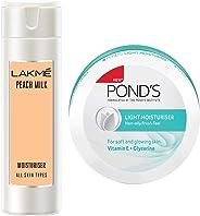 Lakmé Peach Milk Moisturizer Body Lotion 200 ml & Pond's Light Moisturiser, 250ml