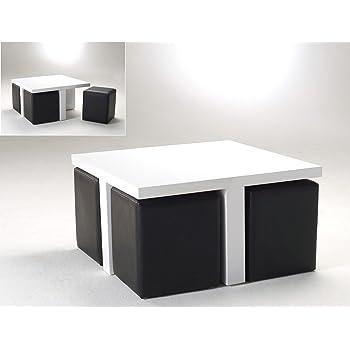 Cavadore Couchtisch Compact Kleiner Tisch Und 4 Kunstleder Hocker