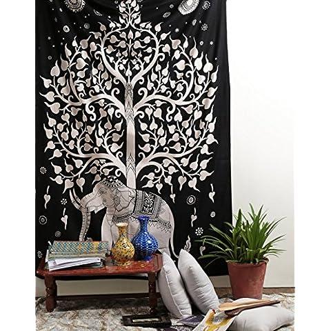 Árbol de elefante Tapiz, Blanco Negro étnico Diseñador Vinilos decorativos india hecha a mano, tapiz decorativo, hoja de picnic en la