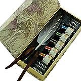 GC Schreibfeder Antike Natürliche Graue Truthahnfeder Federhalter-Set PA-523