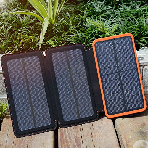 Hiluckey Solar Ladegerät 10000mAh Tragbare Power Bank Outdoor 3 solarzelle 2-output faltbar wasserdicht Externe Akku mit LED Taschenlampe für Samsung Galaxy,iPhone,iPad,Andriod Smartphones,usw. - 4