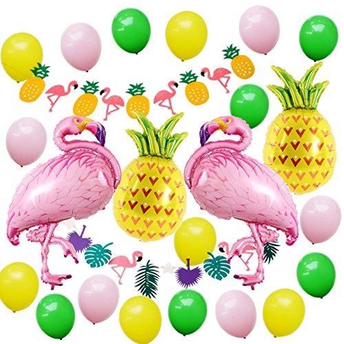 24 Pcs Decoración de fiesta en la playa hawaiana, Fiesta de verano tropical Fiesta temática de Luau en Hawaii con globos de helio Flamingo Pinea, Decoración Garland Bunting Banner y Paquete de globos de fiesta de látex