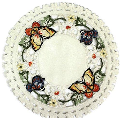 Schmetterlings-tisch-set (Doily Boutique 38,1cm rund Mehrfarbig Schmetterling Spitzendeckchen oder Tisch-Sets)