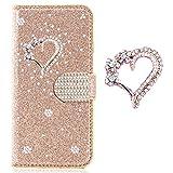 Slim Glitzer Bookstyle Hülle für Samsung A20e,Bling Glitter Diamond Musterg Retro Leder Flip Wallet Stand Funktion Karteneinschub Magnetverschluss -