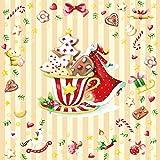 20 Servietten Weihnachten Advent Christmas Weihnachtsdeko Lebkuchen 33 x 33cm