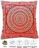 Rot Seide Kissenbezug | Zierkissenbezug | Sofakissenbezug | Dekokissen | Zierkissen - 40 cm x 40 cm ***Handgewebt und Handgefertigt von Kunsthandwerkern aus Kaschmir-Indien***