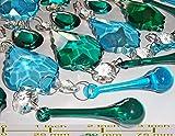 25 Blaugrün blau Pfau grün Mix Farbe Rainbow Kronleuchter Tropfen Set bunt geschnittene Glas Kristalle Perlen Vintage Chic Hochzeit Christbaumschmuck Prismen Art Deco Retro Tropfen Licht Lampe
