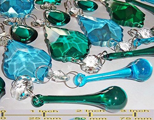 25 Blaugrün blau Pfau grün Mix Farbe Rainbow Kronleuchter Tropfen Set bunt geschnittene Glas Kristalle Perlen Vintage Chic Hochzeit Christbaumschmuck Prismen Art Deco Retro Tropfen Licht Lampe - Kronleuchter Kristall-perlen Für