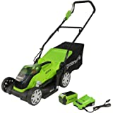 Greenworks battery-powered lawnmower G40LM35K (Li-Ion 40V 35cm cutting width up to 500m² mowing area, 2in1 mulching and…