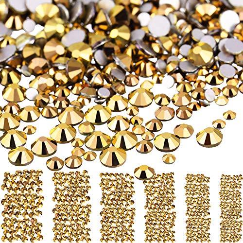 3456 Stücke Nagel Kristalle AB Nagel Kunst Strasssteine Runde Perlen Flatback Glas Charms Edelsteine, 6 Größen für Nägel Dekoration Makeup Kleidung Schuhe (Bronze, Gemischt SS4 5 6 8 10 12) -