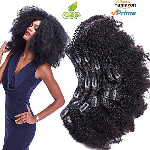 Afro Kinky Curly Clip In Human Hair Extensions Clip der Haarverlängerungen Nautral Schwarze Clip den kopf voll 8pcs/set Brasilianischen Remy Haarspange ins 120 g (Perücke Hair Extensions)