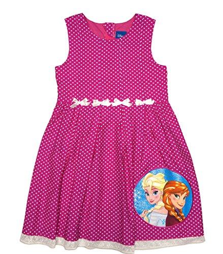 (Mädchen-Kleid Eiskönigin Sommer-Kleid in Rosa, Pink oder Grün, Freizeit-Kleid ÄRMELLOS mit EIS-Prinzessinnen, Anna und ELSA Frozen-Kleid in Größe 104, 110, 116, 122, 128, 134 Farbe Pink, Größe 116)