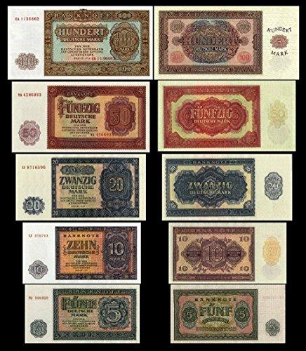 *** 5, 10, 20, 50, 100 Mark DDR Geldscheine 1955 Alte DDR Währung - Pick 17 - 21 - Reproduktion ***