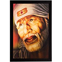 eCraftIndia Enlightening Sai Baba Matt Textured Framed Synthetic Wood UV Art Painting (35.6 cm x 1.3 cm x 50.8 cm)