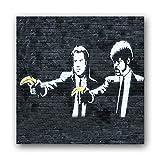 Banksy Streetart Bild D209, 1 Teil 9x9cm, Seidenmatte Optik auf Forex, moderne schwebende Optik, UV-stabil und wasserfest, Kunstdruck für Büro oder Wohnzimmer, XXL Deko Bild, kein Poster Leinwandbild Wandbild