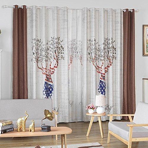 kalends Vorhänge für Wohnzimmer bedroom- Christmas Home Decor 3D-Druck Leinen-Mischgewebe Windows Sheer Vorhänge, weiß, 52