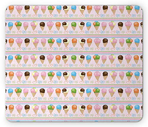 Ice Cream Mouse Pad, Horizontal Borders with Dots Stripes Creamy Milky Desserts Flowers and Hearts Gaming Mousepad Office Mouse Mat Multicolor Usa Dessert