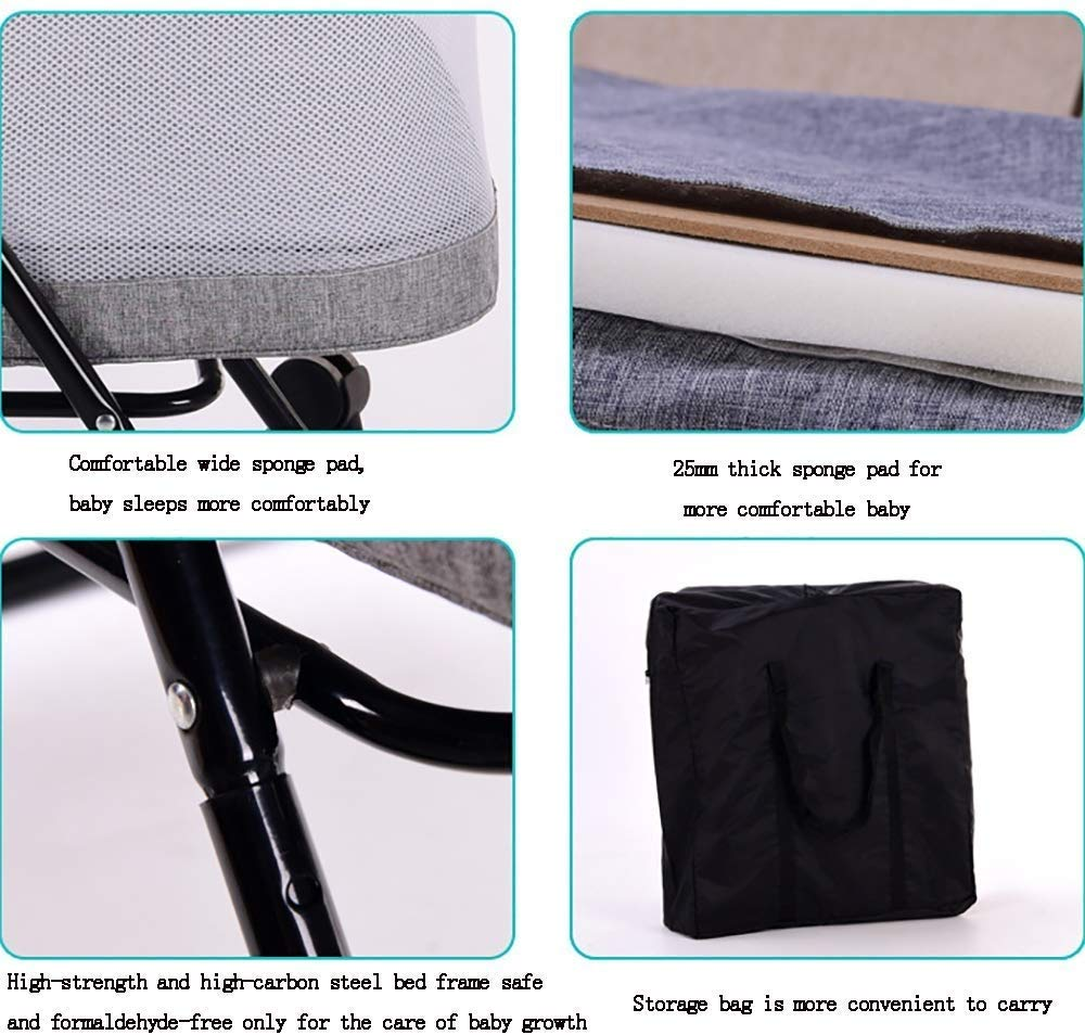 BHDYHM Bed Side Crib for Baby - Sleeper Includes Travel Case, Mattress, Sheet, and Urine Pad Foldable crib BHDYHM *The toddler bed is safe, cozy and easy to access, reinforcing your child's new-found independence. *360° breathable mesh to prevent mosquito bites, easy to observe baby moves *Mattress included with this cradle and gently rock them off to sleep each night. 7