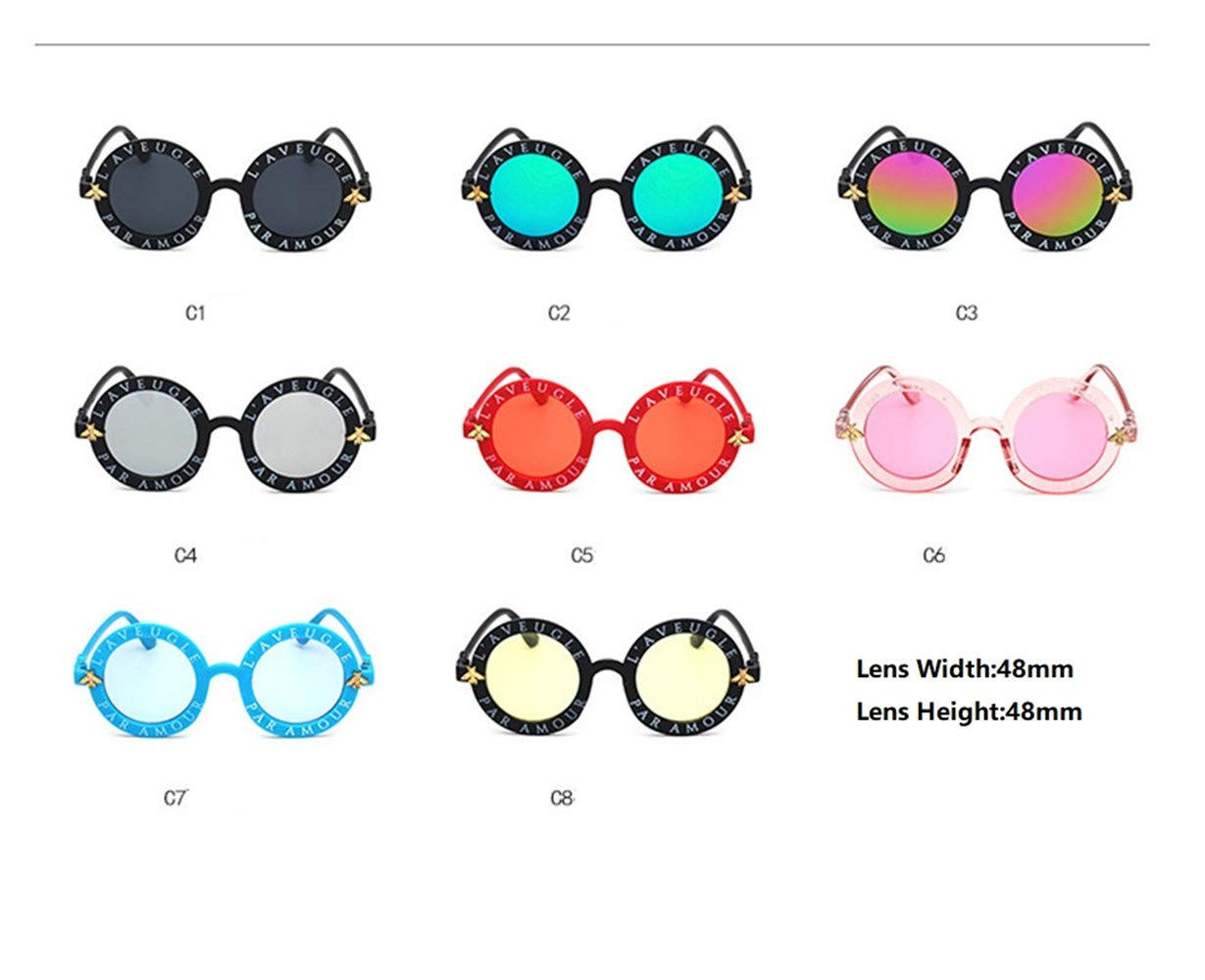 Wang-RX Steampunk Bee Kids Sunglasses Boys Girls Luxury Vintage Children Sunglasses Gafas redondas de sol 8 colores 2