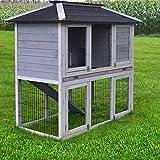 Zooprimus Kaninchenstall 57 Hasenkäfig - STADTVILLA - Stall für Außenbereich (für Kleintiere: Hasen, Kaninchen, Meerschweinchen usw.)